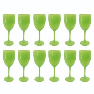 Set de 12 Copas de Vino Verde Fosforescente