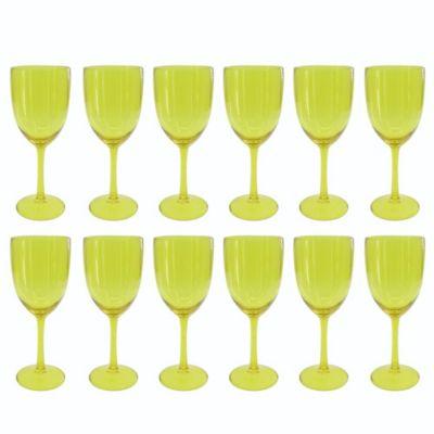 Set de 12 Copas de Vino Amarillo Traslúcido