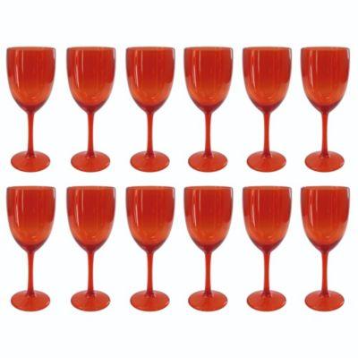 Set de 12 Copas de Vino Rojo Traslúcido