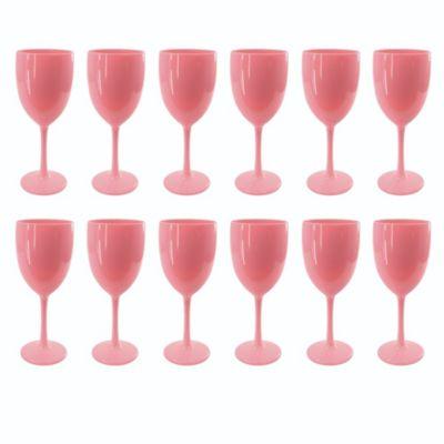 Set de 12 Copas de Vino Rosado Sólido