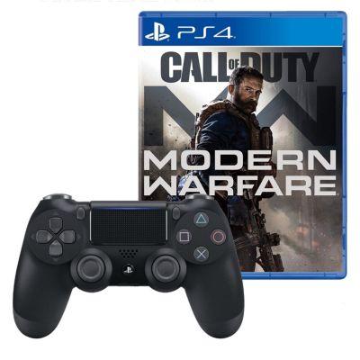 Mando PS4 Dualshock Negro + Videojuego  Call Of Duty Modern Warfare