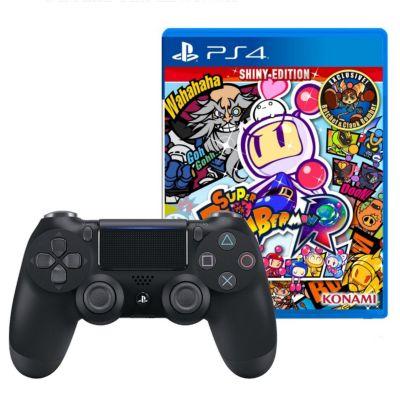 Mando PS4 Dualshock Negro + Videojuego Bomberman Shiny Edition