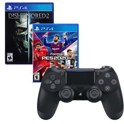 Mando PS4 Dualshock Negro + Videojuego Pro Evolution Soccer 2020 + Videojuego Dishonored 2