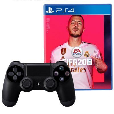 Mando PS4 Dualshock Negro + Videojuego FIFA20