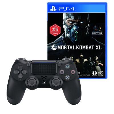 Mando PS4 Dualshock Negro + Videojuego Mortal Kombat Xl