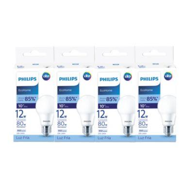 Pack x4 Focos LED Ecohome 12w E27 Luz Fría