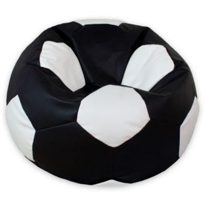 Puff Balón de Fútbol Grande Negro con Blanco