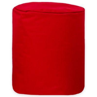 Puff Cilindro Loneta Impermeable Rojo