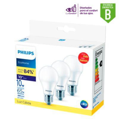 Pack x3 Focos LED Ecohome 10w E27 Luz Cálida