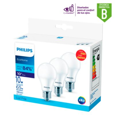 Pack x3 Focos LED Ecohome 10w E27 Luz Fría