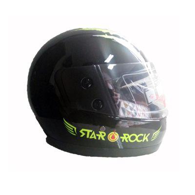 Casco de Moto Integral Negro con Verde Rock Star