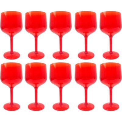 Set de 10 Copas de Gin Rojo Traslúcido