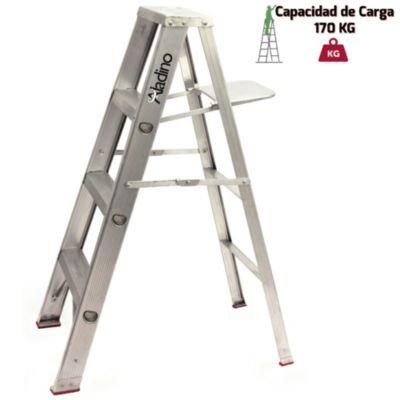 Escalera Tijera Aluminio Simple Ascenso Industrial 4 Pasos
