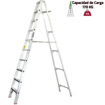 Escalera Tijera Aluminio Simple Ascenso Industrial10 Pasos