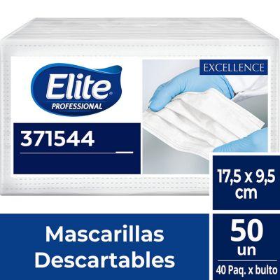 Mascarillas Descartables Elite Professional de 3 Pliegues X50