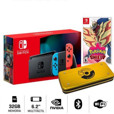 Consola Nintendo Switch + Videojuego Pokemon Escudo + Estuche