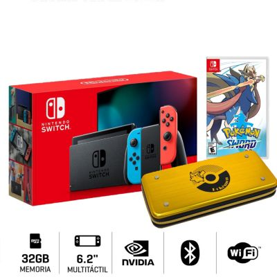Consola Nintendo Switch + Videojuego Pokemon Espada + Estuche