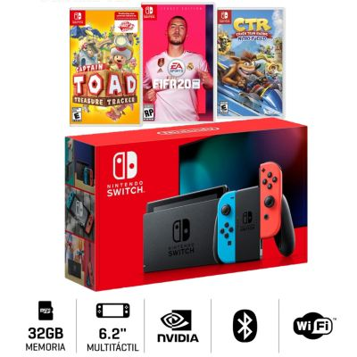 Consola Nintendo Switch + Videojuego FIFA20 + Captain Toad +CTR