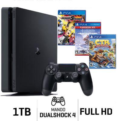 Consola PS4 Slim 1Tb + Videojuegos Naruto + Horizont + CTR
