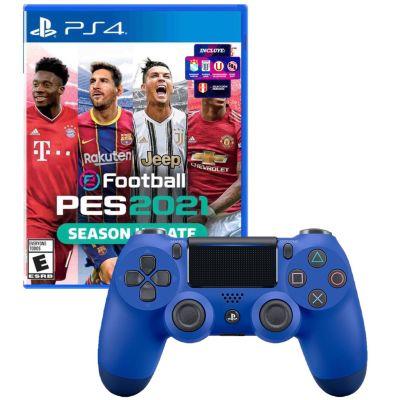 Mando PS4 Dualshock Azul + Videojuego PES 2021