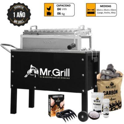 Combo caja china mediana premiun black acero inoxidable + parrilla con regulador de altura + carbón + kit de sal de maras + garras de oso
