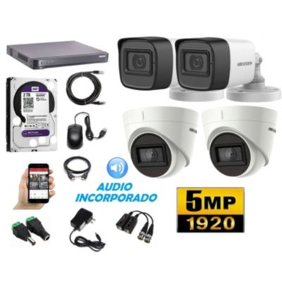 Cámaras Seguridad Kit 4 HIK 5mpx Audio 2tb