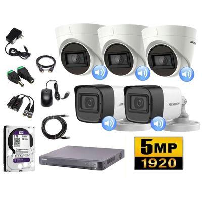 Cámaras Seguridad Kit 5 HIK 5mpx Audio 2tb
