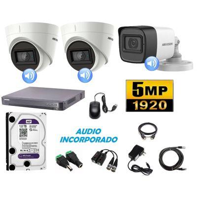 Cámaras Seguridad Kit 3 HIK 5mpx Audio 1tb