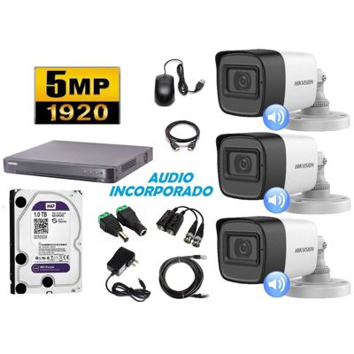 Cámaras Seguridad Kit 3 HIK TUBO 5mpx Audio 1tb