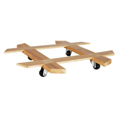 Base de madera con garrucha 37cm