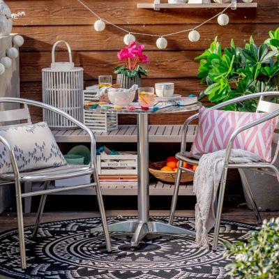Silla de jardín Slat de aluminio con apoyabrazos gris
