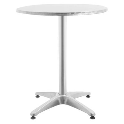 Mesa de jardín de aluminio redonda plateada