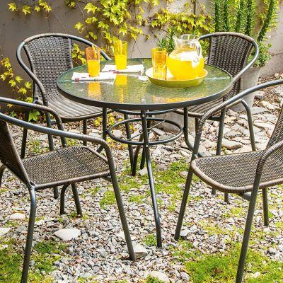 Mesa de jardín de hierro redonda negra