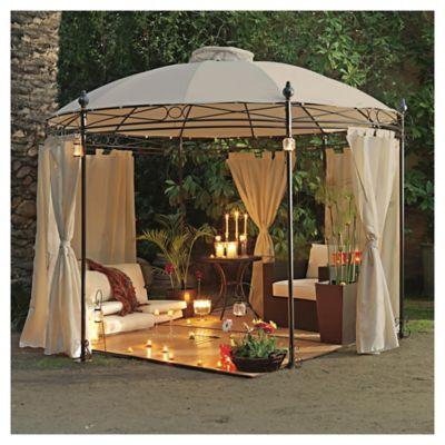 Pérgola metálica redonda con cortinas de poliéster 280 x 350 cm blanca