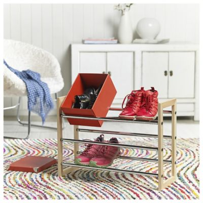Organizador de zapatos extensible 18 pares natural y cromado