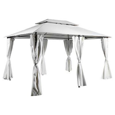 Pérgola Romana metálica con cortinas de poliéster 300 x 400 cm natural
