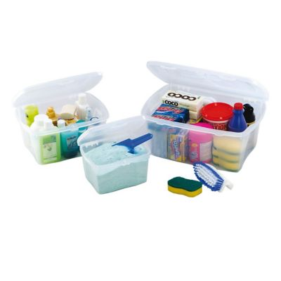 Set de 3 cajas organizadoras de plástico con tapa transparentes 2,5 / 6 / 12 L