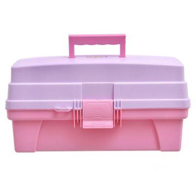 Caja organizadora de plástico con tapa Vanity con 14 compartimientos rosa y lila