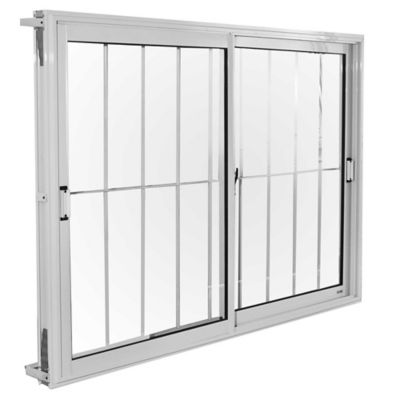 Ventana de aluminio con reja blanca 150 x 110 x 10 cm