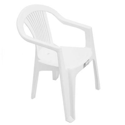 Silla de jardín Milán de plástico con apoyabrazos blanca