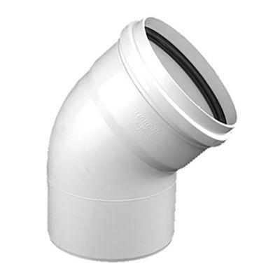 Codo PVC junta elástica 45° HH 50 mm