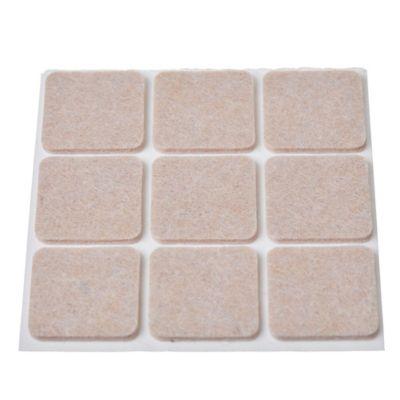 Fieltro adhesivo cuadrado 30 mm beige por 9 unidades