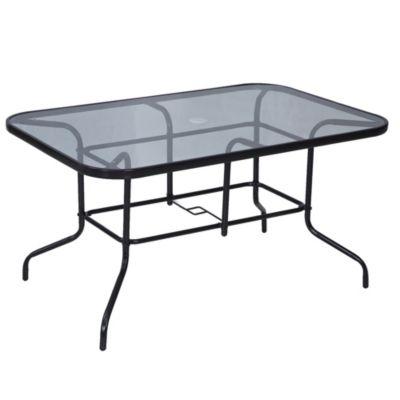 Mesa de jardín Sling de acero rectangular negra
