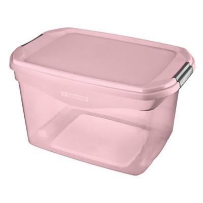 Caja organizadora de plástico con tapa rosa 29 L