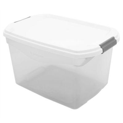 Caja organizadora de plástico con tapa gris 29 L
