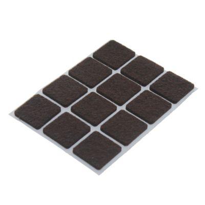 Fieltro adhesivo cuadrado 22 mm marrón por 12 unidades