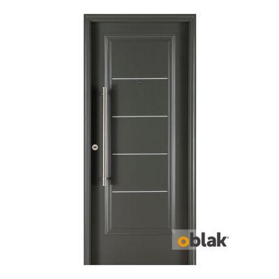 Puerta exterior de acero 5 tableros grafito 80 cm derecha