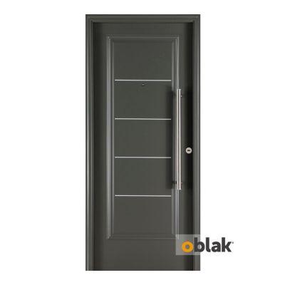 Puerta exterior de acero 5 tableros grafito 80 cm izquierda