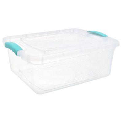 Caja organizadora de plástico con tapa Wenbox transparente 15 L