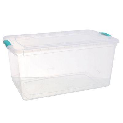 Caja organizadora de plástico con tapa Wenbox transparente 61 L